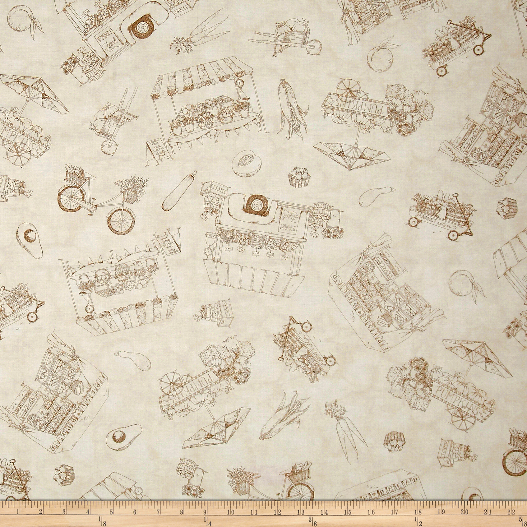 Maywood Studio From The Farm Toile Natural Fabric
