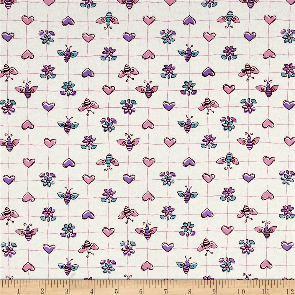 Cotton Jersey Knit Bees Hearts Flowers Pink/Purple Fabric