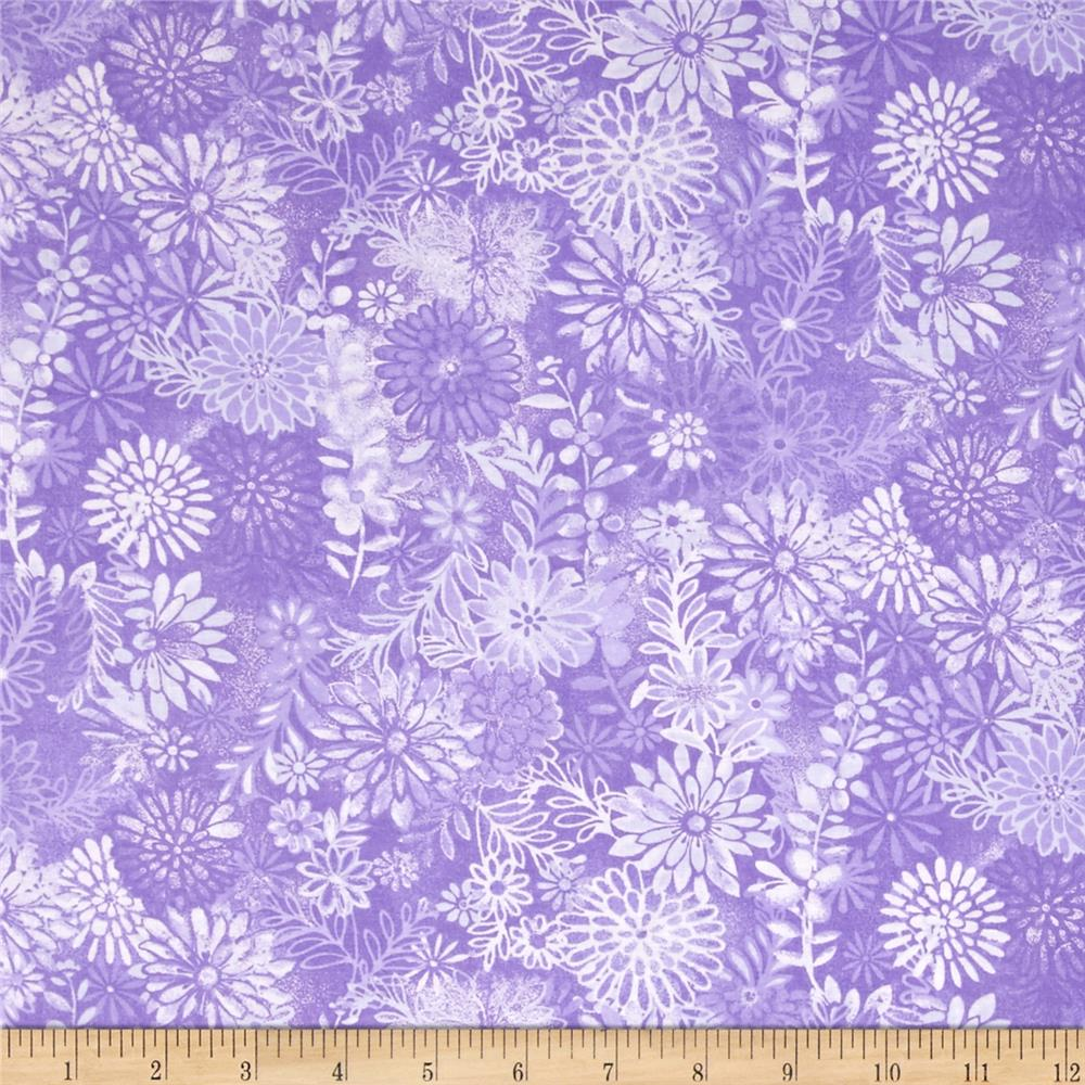 44 wide quilt packed floral purple discount designer for Quilting material