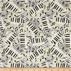 Encore Piano Keys & Notes Gray