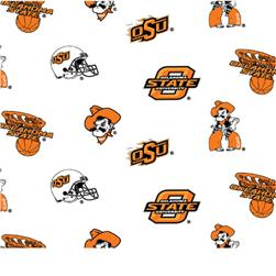 Collegiate Cotton Broadcloth Oklahoma State University Allover White