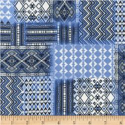 Timeless Treasures Julia Ikat Patchwork Blue