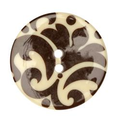 Fashion Button 1-3/8'' Damask Cream/Brown