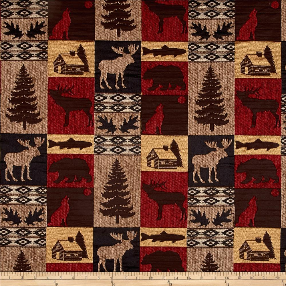 Regal Fairbanks Cabin Patch Chenille Jacquard Red