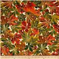 Kaufman Shades of the Season Metallic Leaves Ivory