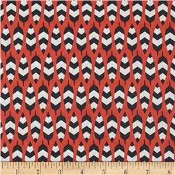 Enchanted Organic Zig Zag Feathers Coral Fabric