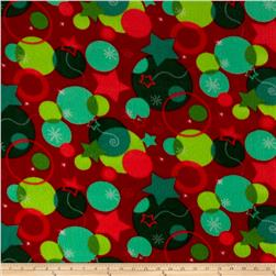 Printed Fleece Dots Red/Green
