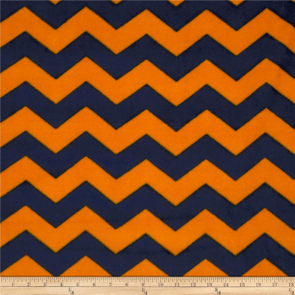 Chevron Fleece Blue/Orange
