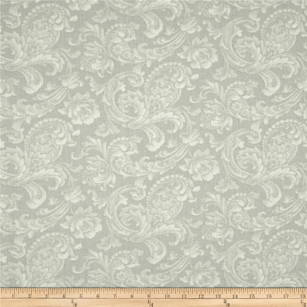 "108"" Wide Quilt Back News Paisley Floral Silver"