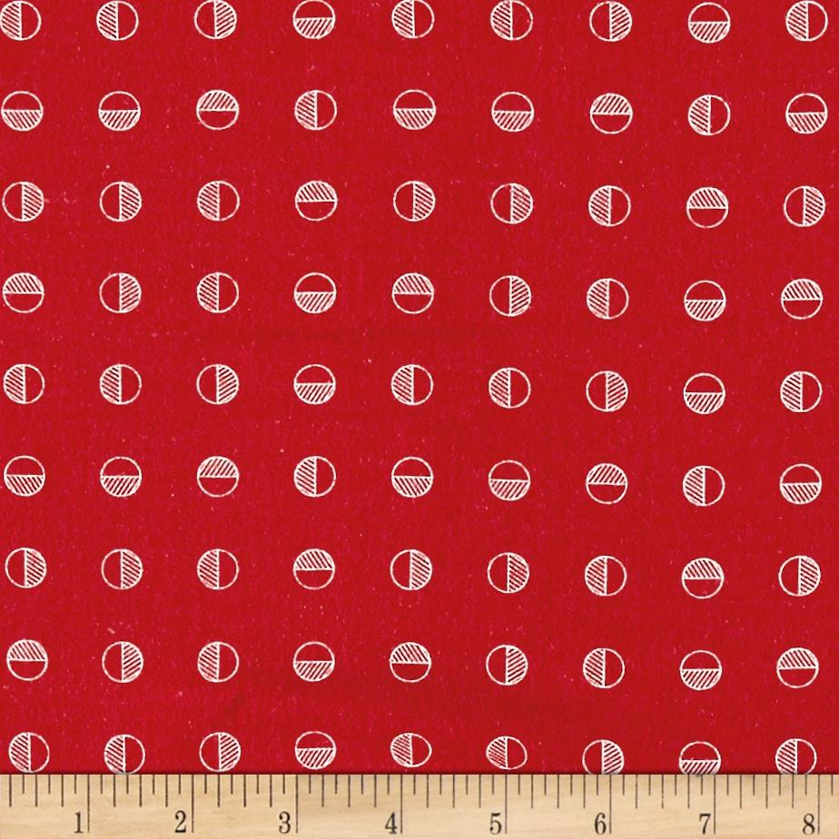 Moda Red Dot Green Dash Brushed Cottons Half Snowballs Poinsettia Red Fabric
