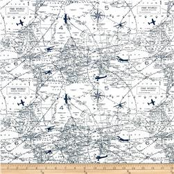Premier Prints Air Traffic Slub Premier Navy Fabric