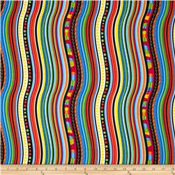 Timeless Treasures Happy Bugs Wavy Stripe Multi