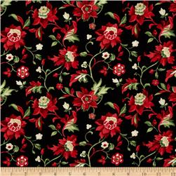 Crimson & Holly Medium Floral Black