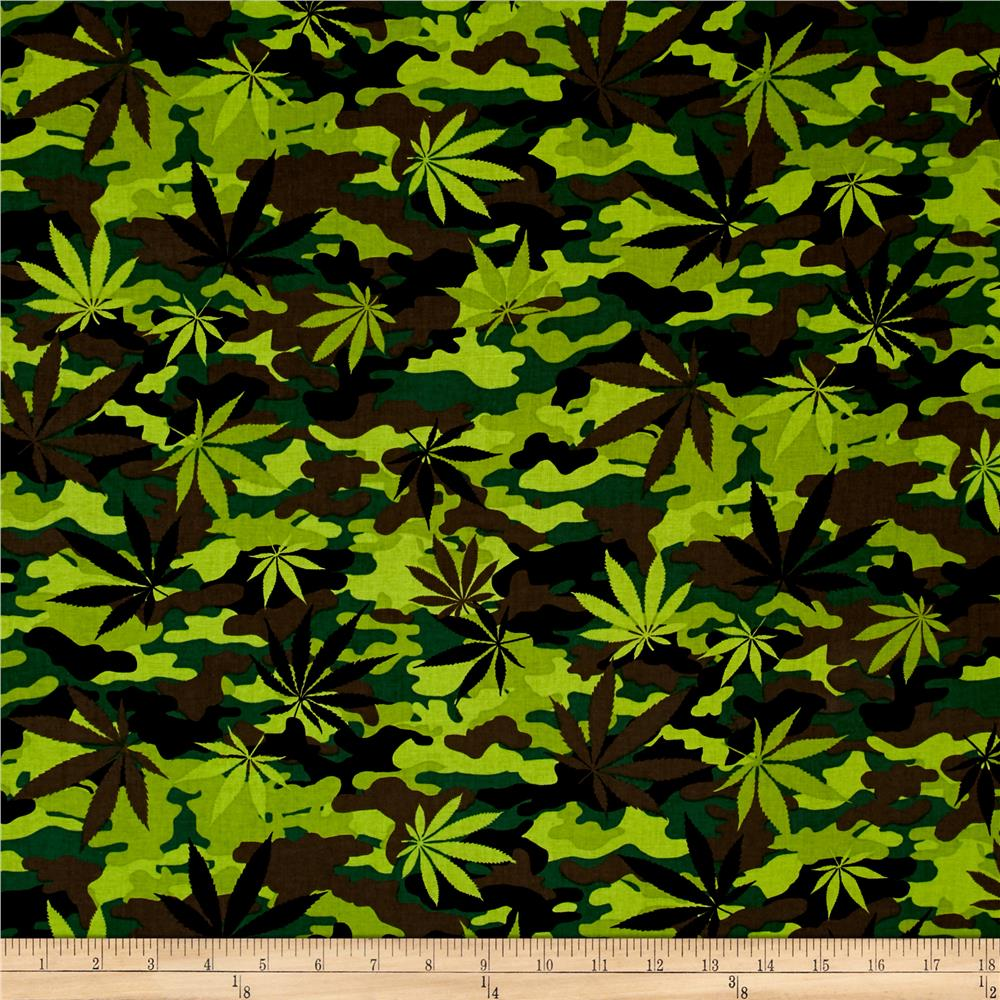 Timeless Treasures Cannabis Leaf Camo Green Discount