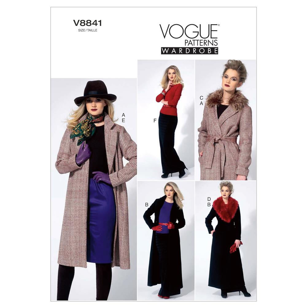 Vogue Misses' Jacket, Detachable Collar, Belt And Skirt