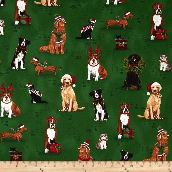 Kaufman Holly Jolly Christmas Holiday Dogs & Cats Evergreen