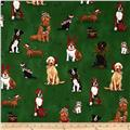 Robert Kaufman Holly Jolly Christmas Holiday Dogs & Cats Evergreen
