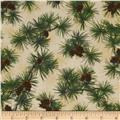 Winter Birds Pines & Pinecones Beige