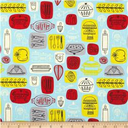What's Cooking Kitchen Blue Fabric