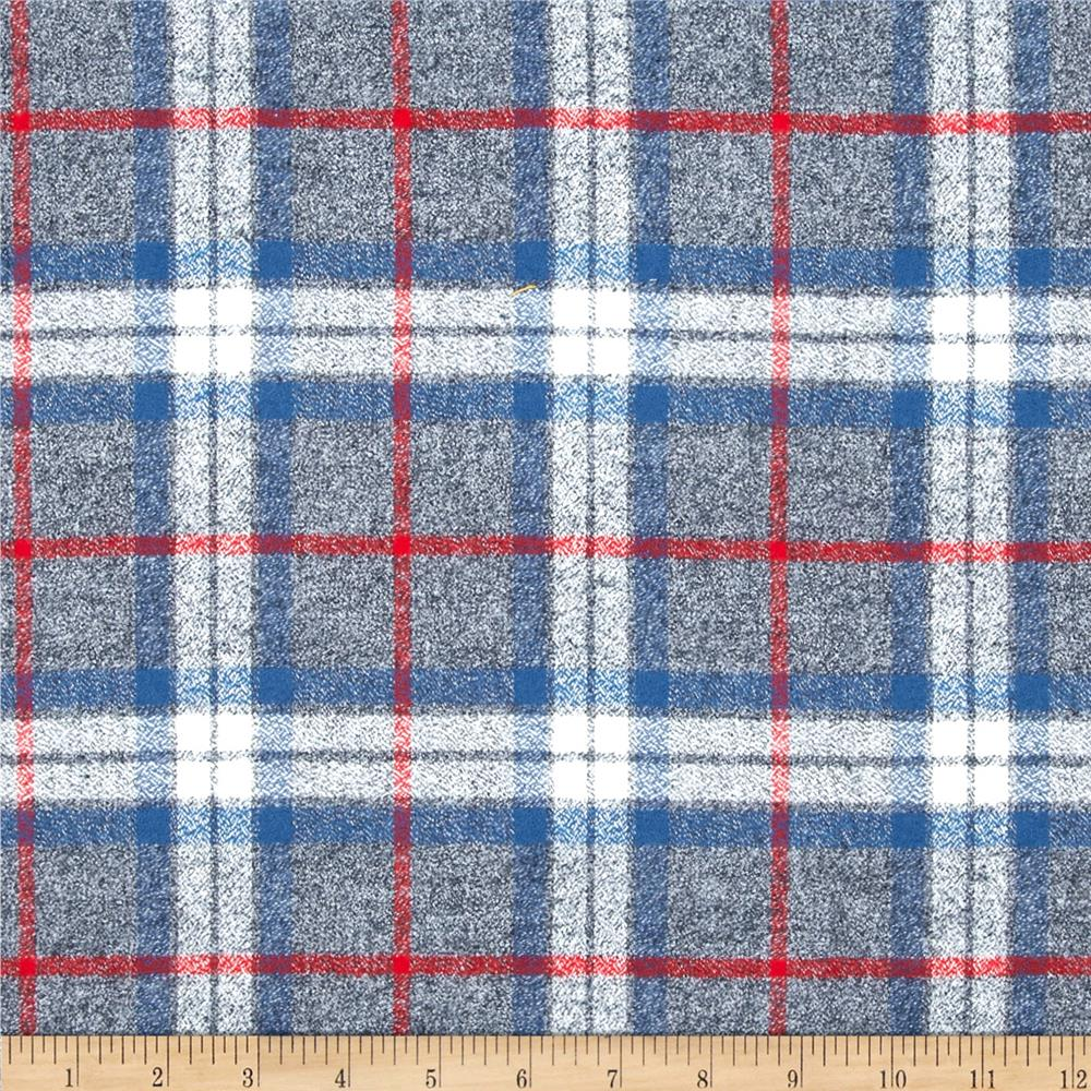 Kaufman mammoth flannel plaid smoke discount designer for Flannel fabric