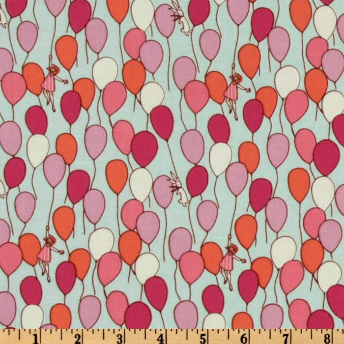 Michael miller children at play balloon aqua discount for Wholesale childrens fabric