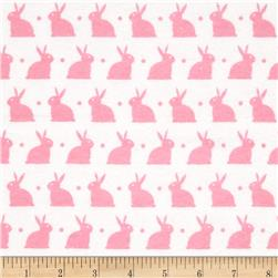 Dreamland Flannel Bedtime Bunny White/Pink Carnation Fabric