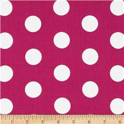 Let's Play Dolls Dots Hot Pink Fabric