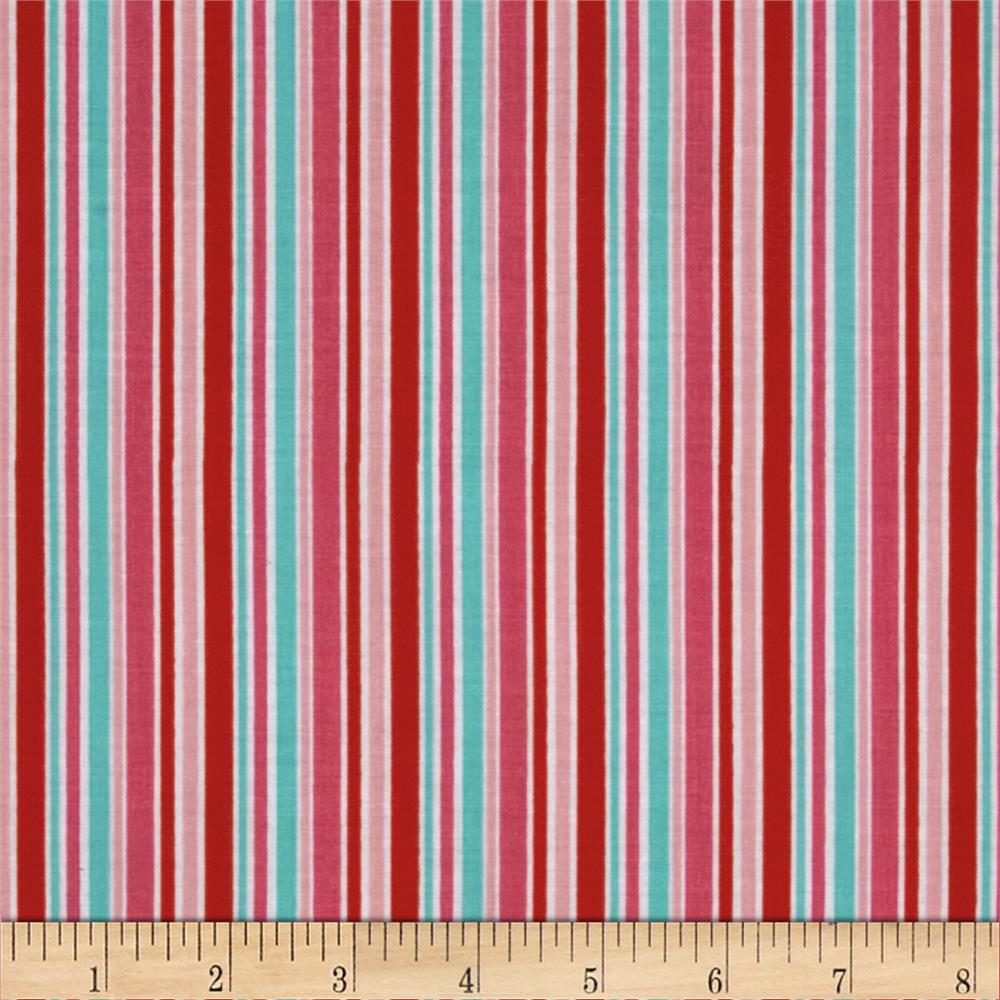 Riley Blake Lovey Dovey Stripes Red
