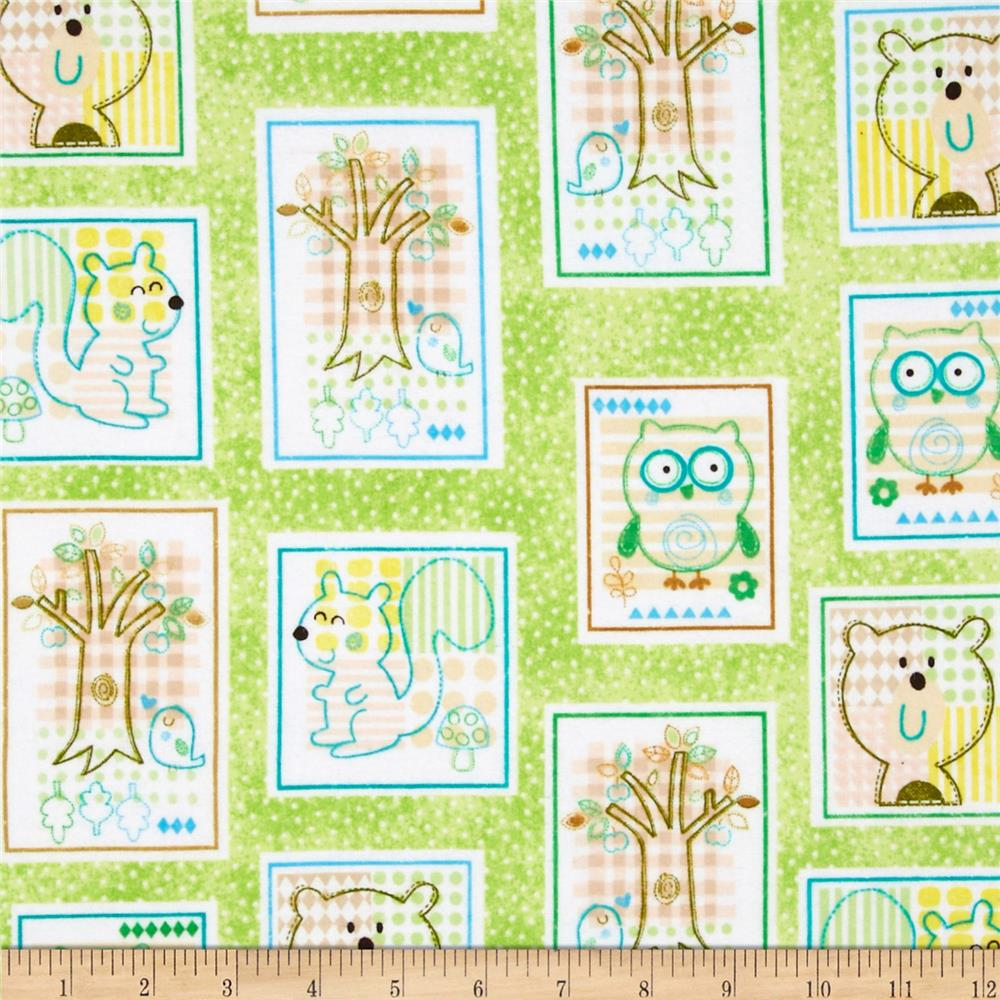 Comfy Flannel Animal Patchwork Green