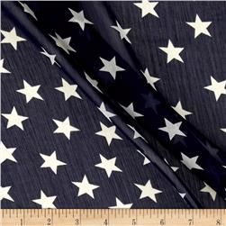 Polyester Prints Chiffon Stars Navy/Off-White