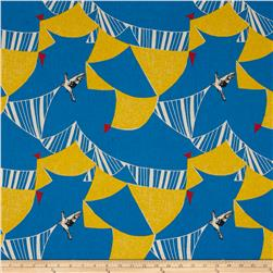 Kokka Echino Linen Blend Canvas Flag Bird Blue