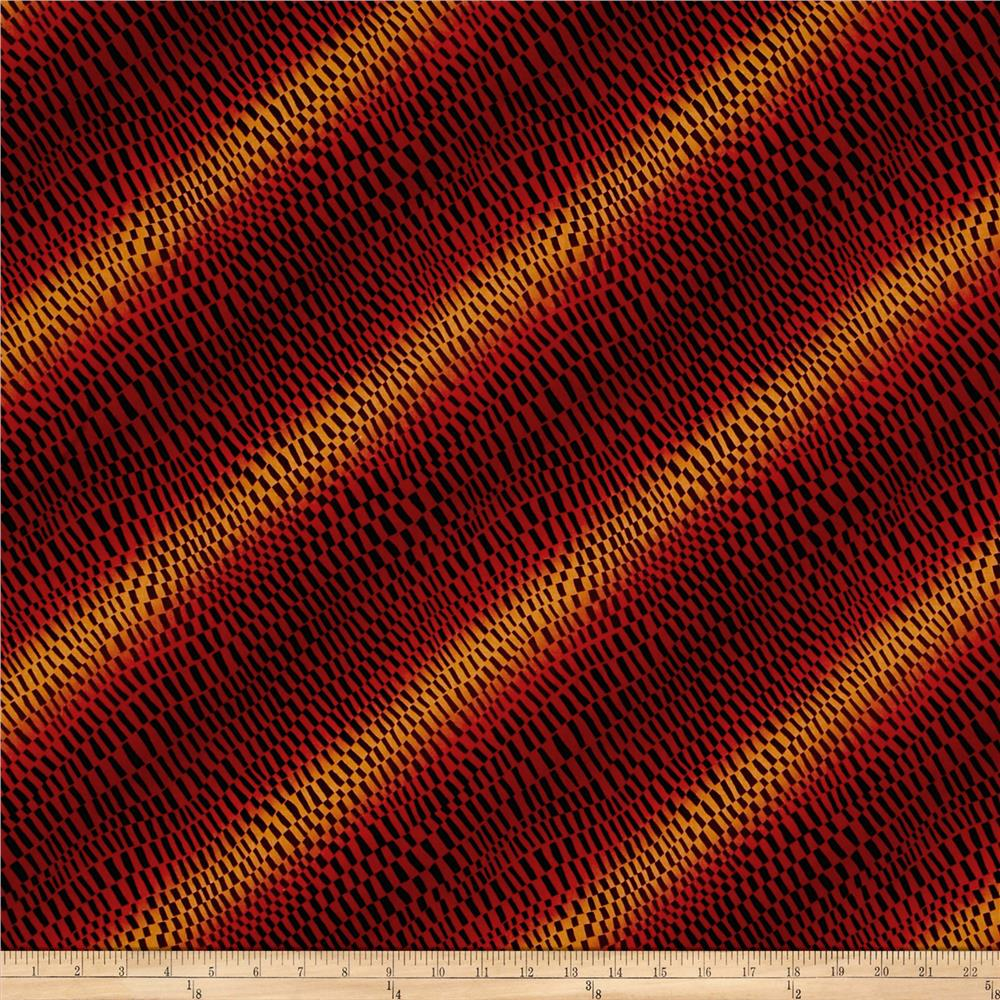 Timeless Treasures Intrigue Wavy Blocks Red