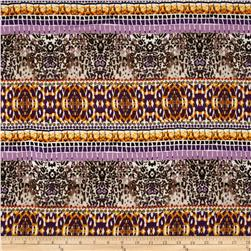 Rayon Challis Bohemian Purple/Orange