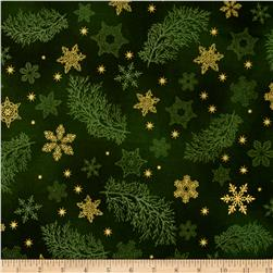 Kaufman Holiday Flourish Metallics Snowflake & Sprigs Green