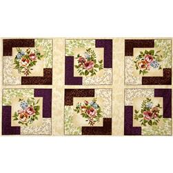 Rare and Lovely Floral Panel Cream/Purple