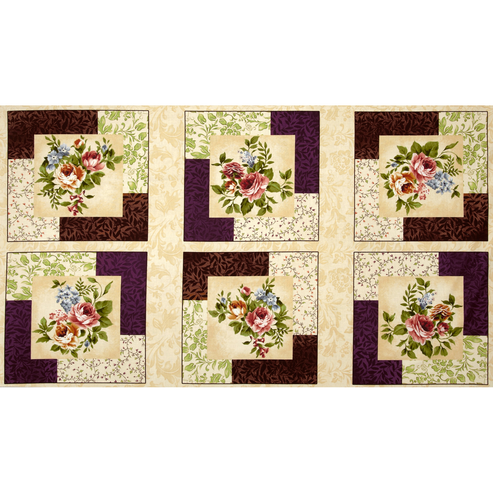 Rare and Lovely Floral Panel Cream/Purple Fabric