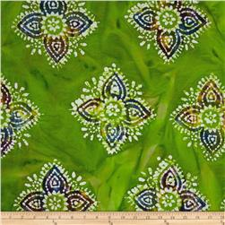 Indian Batiks Large Medallion Lime