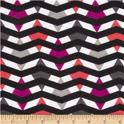 Fashionista Jersey Knit Geo Chevron Black/Pink