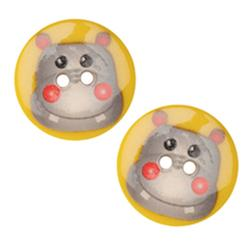Novelty Button 1'' Critter Hippo Multi