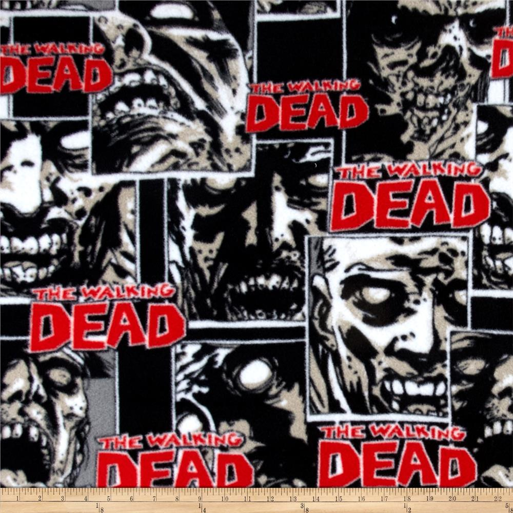 The Walking Dead Fleece Zombie Pack Black Fabric By The Yard