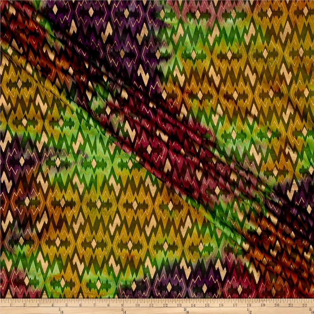 Indian Batik Montego Bay Gold Chevron Green/Wine