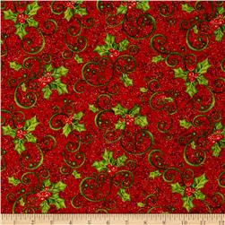 Mistletoe Metallic Holly Red