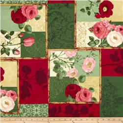 Bouquet Modern Large Rose Patchwork Red/Green/Multi