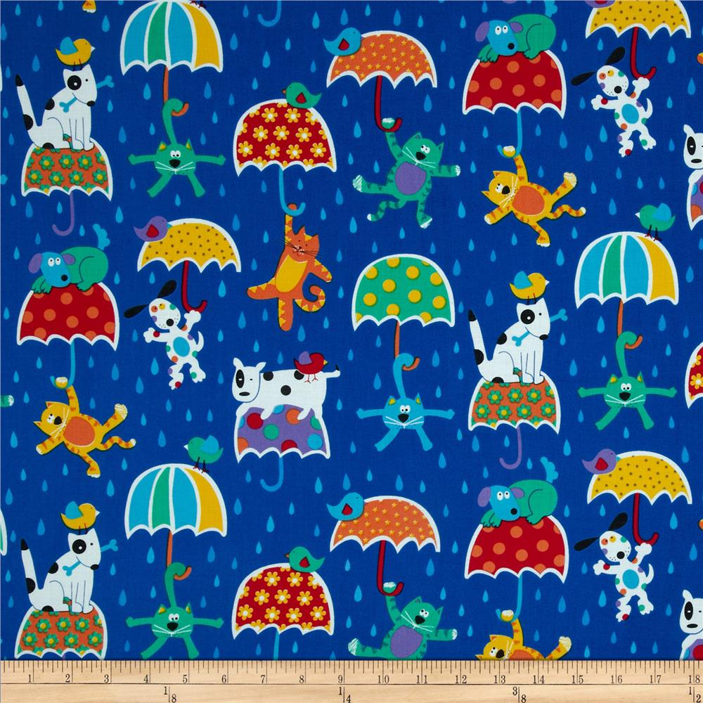 Timeless Treasures Raining Cats & Dogs Blue