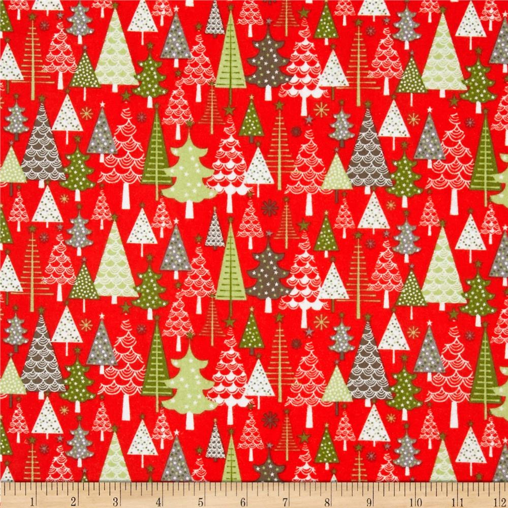 Riley Blake A Merry Little Flannel Merry Trees Red