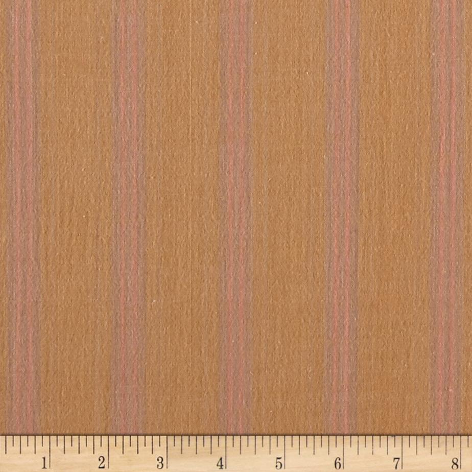 Primo Plaid Flannel Stripe Tan/Pink Fabric