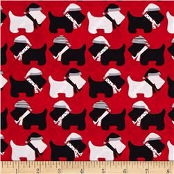 Robert Kaufman Jingle Scottie Dogs Red