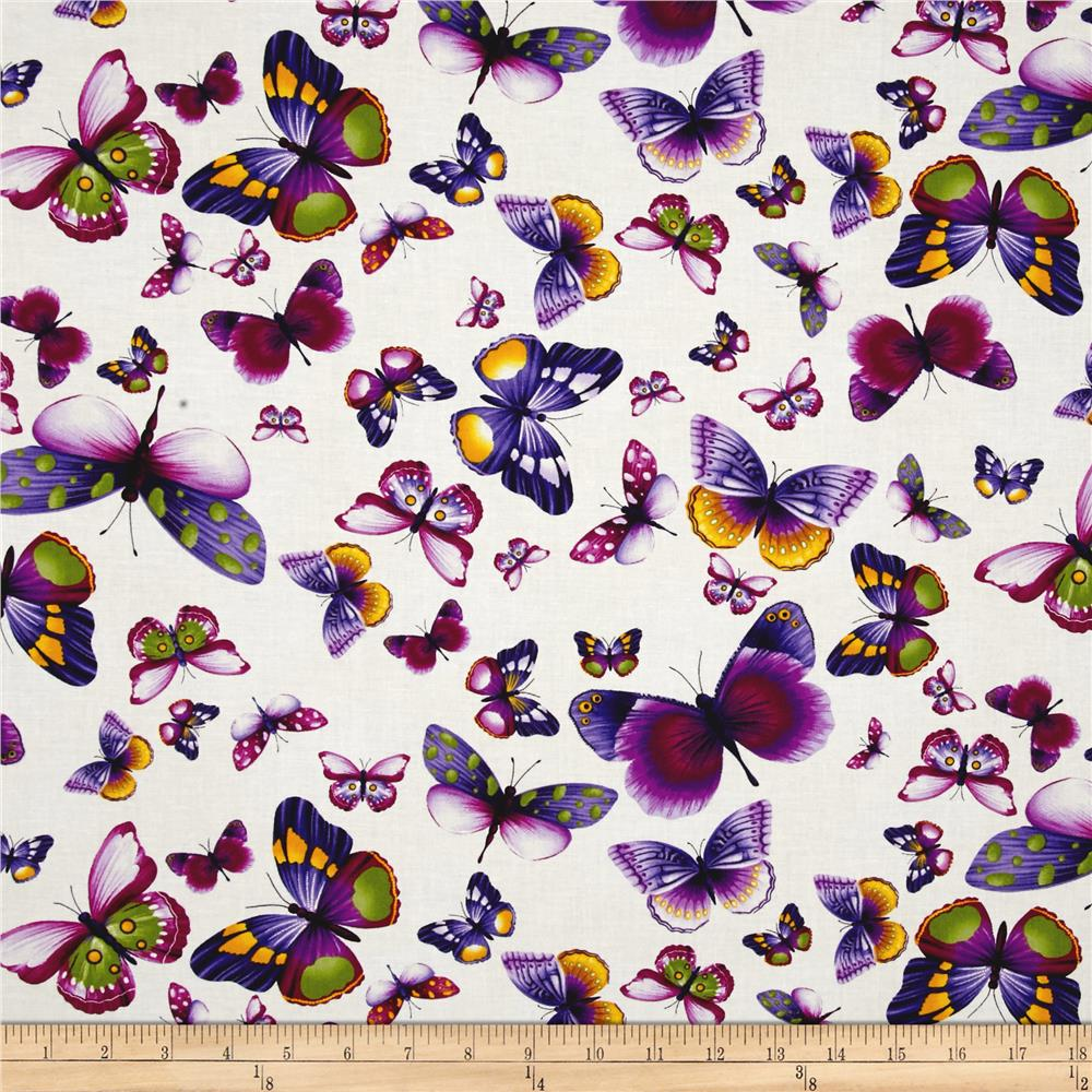 Timeless Treasures Viola Butterflies Ivory