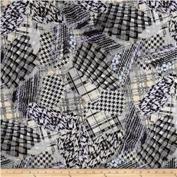 Stretch ITY Jersey Knit Abstract Houndstooth Purple/Grey Fabric