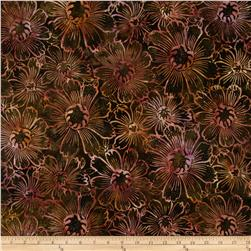 Timeless Treasures Tonga Batik Fig Gerber Daisy Fudge